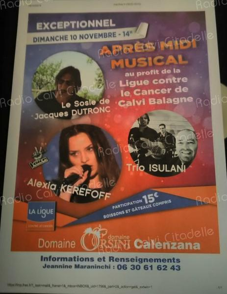 Calvi : après-midi musical au profit de la ligue contre le Cancer